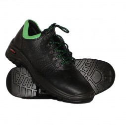 BLACK LEATHER APOLLO  SHOE WITH STEEL TOE CAP