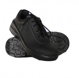 BLACK LEATHER VENICE  SHOES WITH STEEL TOE CAP