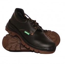 BLACK NEOGRIP LEATHER SHOES WITH STEEL TOE CAP