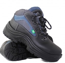 BLACK LEATHER MUNICH BLUE TRAX BOOTS WITH MIDSOLE + STEEL TOE CAP