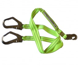 DOUBLE LANYARD C/W SAE; 1XSAFETY HOOK & 2X SCAFF HOOKS EACH END