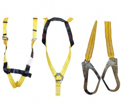 HARNESS FULL BODY REFL YEL WEB C/W BELT, FOOTSTRAP; SAE; DBL WEB LANYARDS + SCAFF HOOKS