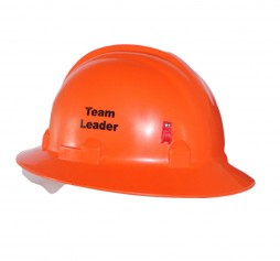 HARD HAT FULL BRIM ORANGE C/W BRACKET + PRINT TEAM LEADER BOTH SIDES