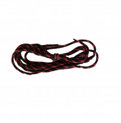 BOOT LACES - BLACK ROUNDED WITH RED STRIPES