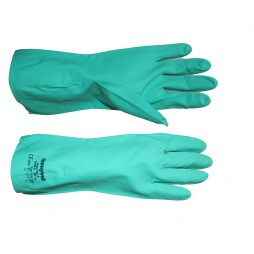 GLOVES GREEN NITRILE 2094831 C/W COTTON FLOCK LINING AND PEBBLE FINISH
