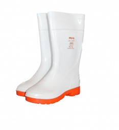 GUMBOOT PVC LADIES  WHITE WITH RED SOLE 1681
