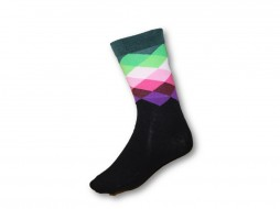 FUNKY SOCKS BLACK PURPLE PINK & GREEN DIAMOND PATTERN