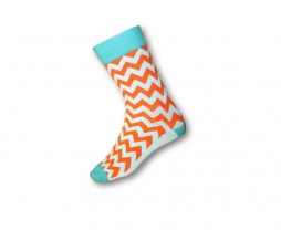 FUNKY SOCKS ORANGE & TURQUOISE ZIG-ZAG PATTERN