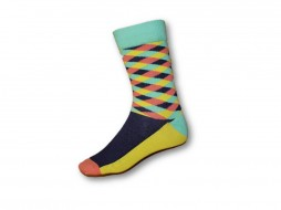 FUNKY SOCKS MULTI COLOURED YELLOW PURPLE & TURQUOISE