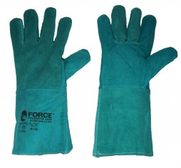 GLOVES LEATHER PADDED WELDING GREEN 35cm