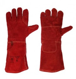 PRIDE RED LEATHER 20CM CUFF HEAT RESISTANT GLOVES