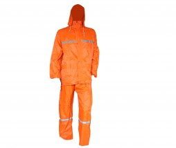 PRIDE, ORANGE 2 PIECE RAIN SUIT WITH SILVER TAPE