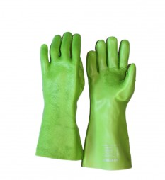 GLOVES PVC LIME REINFORCED TOP PADDED 400MM
